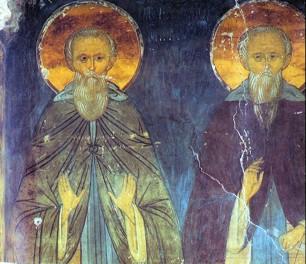 фрагмент росписи преграды - 1481 г - Парфений Лампсакийский и Иоанн Лествичник